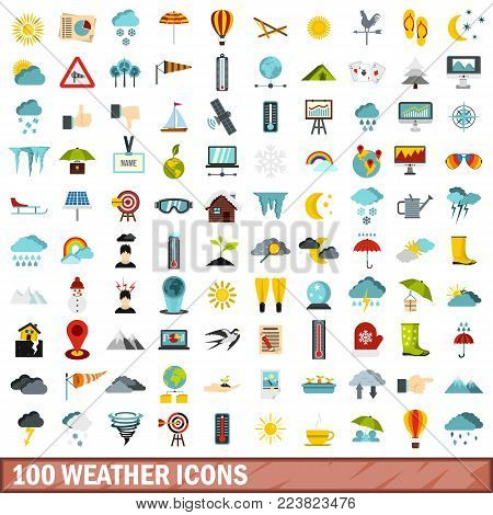 100 weather icons set in flat style for any design vector illustration