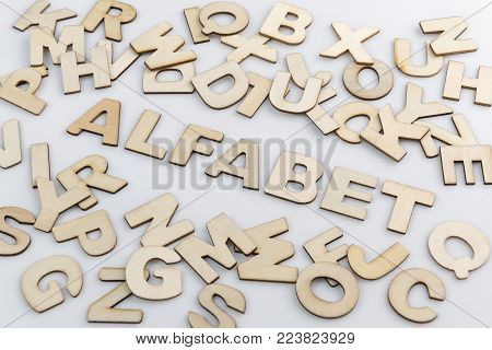 The word alphabet in Dutch translation in wooden letters diagonally placed with loose wooden letters around it.