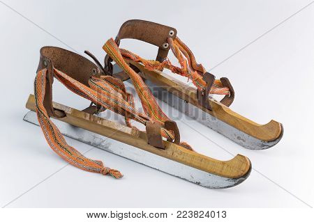 Authentic old wooden ice skating called Friese Doorlopers from the Netherlands