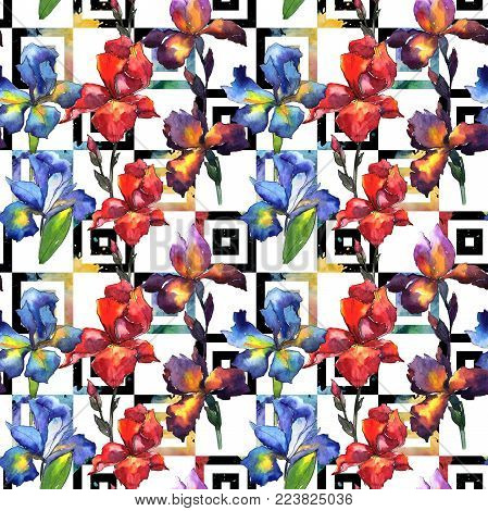 Wildflower iris flower pattern in a watercolor style. Full name of the plant: iris. Aquarelle wild flower for background, texture, wrapper pattern, frame or border.
