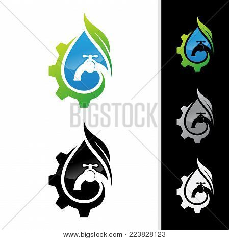 Plumbing company logo vector concept. Negative space style logo design. Simple and stylish logotype. Water drop with pipe and water faucet.