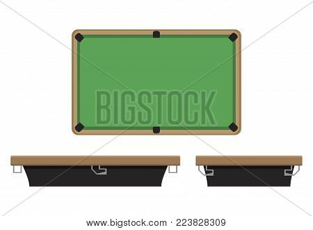 Billiard table on side and on top. Billiard play sport, snooker pool table, vector illustration