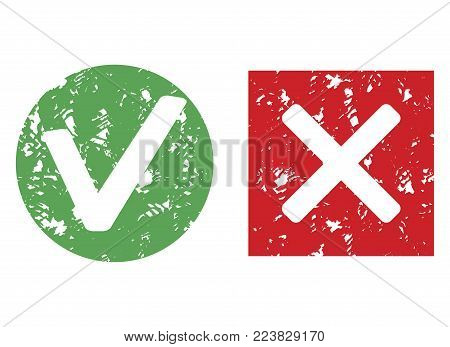 Mark stamp imprint approve and reject. Vector grunge texture approval and reject illustration