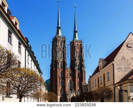 the Gothic Cathedral of St. John the Baptist in Wroclaw