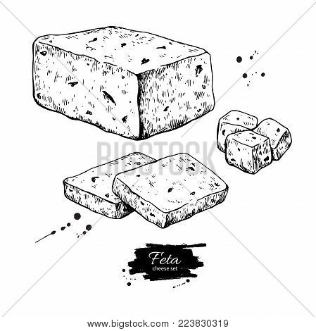 Greek feta cheese block drawing. Vector hand drawn food sketch. Slice and cube cut. Greek salad ingredient. Farm market product for label, poster, icon.