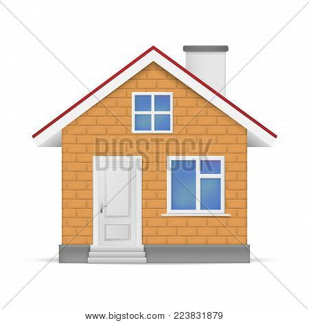 3d Realistic House Isolated On White Background. Vector Illustration. Esp 10.