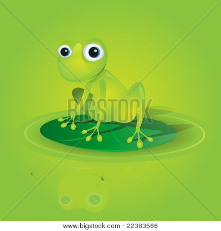 Lovely Green Frog On A Waterlily