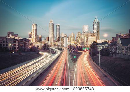 Vintage style photo of Atlanta skyline, Georgia, USA