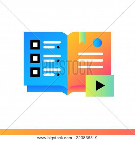 Flat icon Audio books. Online education, e-learning. Material design icon suitable for print, website and presentation