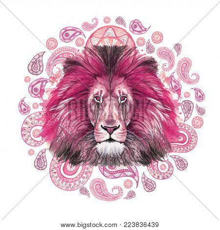 Watercolor drawing of an animal mammal of a predator pink lion, pink mane, lion-king of beasts, portrait of greatness, strength, kingdom, india, Indian patterns, with elements of a Turkish cucumber on