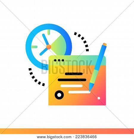 Flat icon Online exam. Online education, e-learning. Material design icon suitable for print, website and presentation