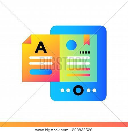 Flat icon E-books. Online education, e-learning. Material design icon suitable for print, website and presentation