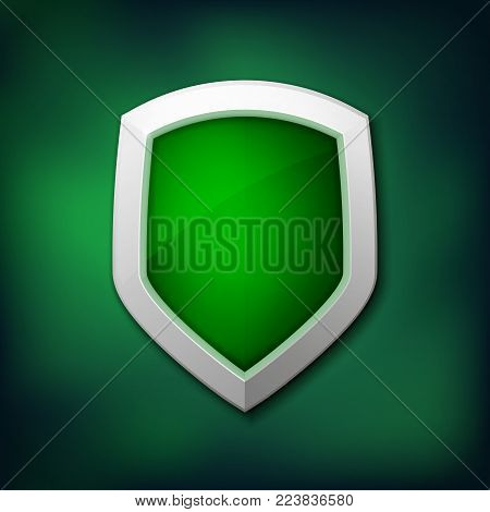 Protection Shield Concept With Banner. Symbol Of Protection And Reliability. Vector Illustration Esp