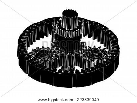 Black Planetary Gear On A White Background