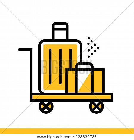 Outline icon Luggage. Hotel services. Suitable for print, website and presentation