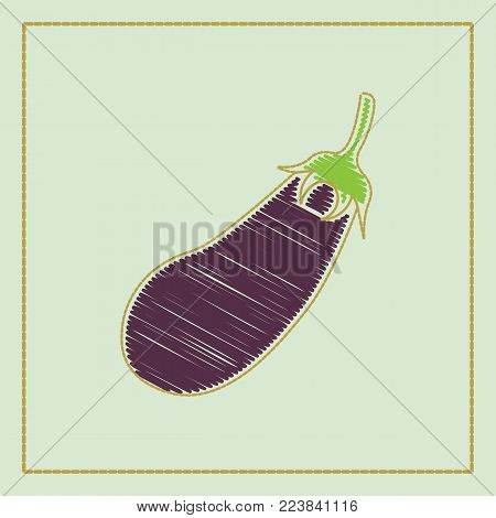 Fresh Eggplant vegetable isolated icon. Eggplant for farm market, vegetarian salad recipe design.