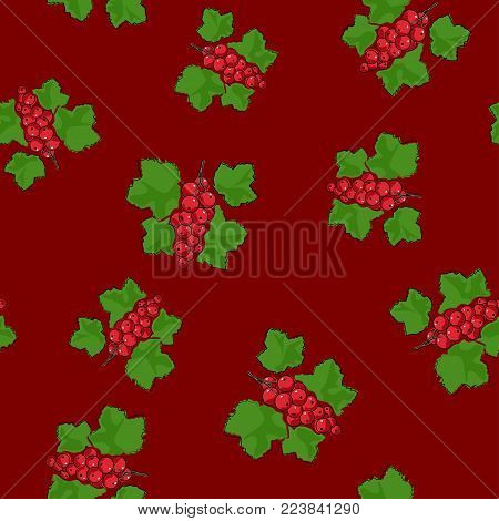 Seamless Pattern of Redcurrant , Fruit Berry on Dark Red Background