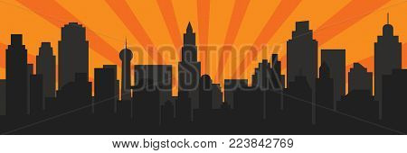 Sunrise and modern black silhouette city in Pop art style. Comics book design background. Vector illustration retro style