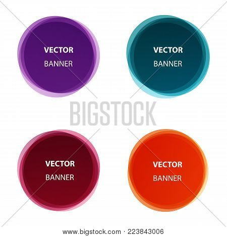 Vector set of colorful round shape abstract banners. Graphic overlay banners,label, tags, speech bubbles design