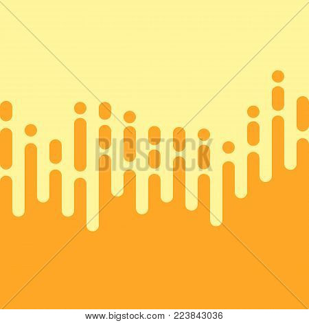 Yellow vertical irregular rounded lines in the style of the Mentis. Halftone transition abstract mosaic design. Vector background