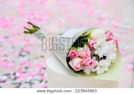 Bouquet Of Flowers - A Composition Of Multi-colored Roses. Background For The Postcard.
