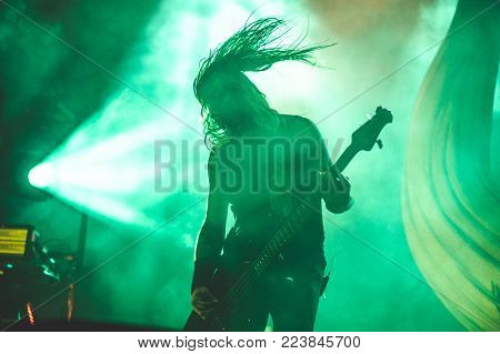 TOLMIN, SLOVENIA - JULY 25TH: BASS PLAYER OF VIKING METAL BAND AMON AMARTH PERFORMING AT METALDAYS FESTIVAL ON JULY 25TH, 2018 IN TOLMIN, SLOVENIA