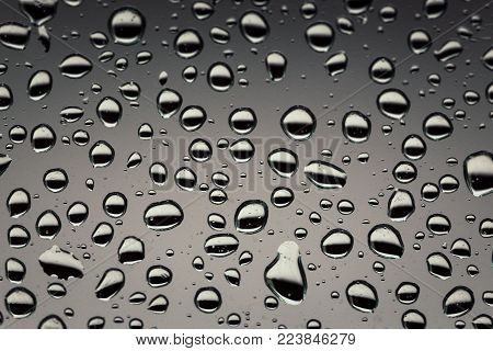 Rain Drops On The Glass, Background. Water Drop Background Texture