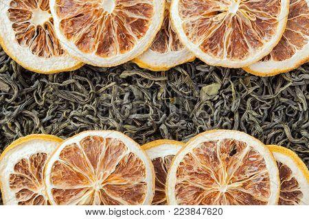 Tea herbs texture. Green tea. Organic dried green tea leaves.