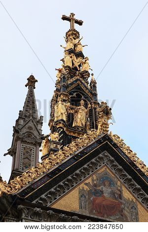 LONDON, GREAT BRITAIN - MAY 10, 2014: This is the spire with cross of the Prince Albert Memorial.