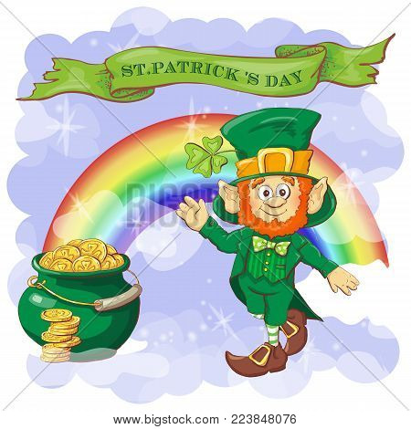 Vector Happy Saint Patrick s Day greeting card with leprechaun.