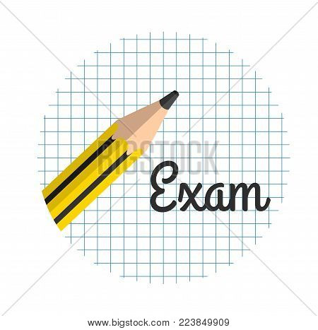 Pencil on a sheet of paper, the inscription exam in a circle,
