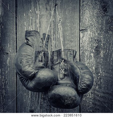 Old boxing gloves hanging on a wooden wall.Black and white photo
