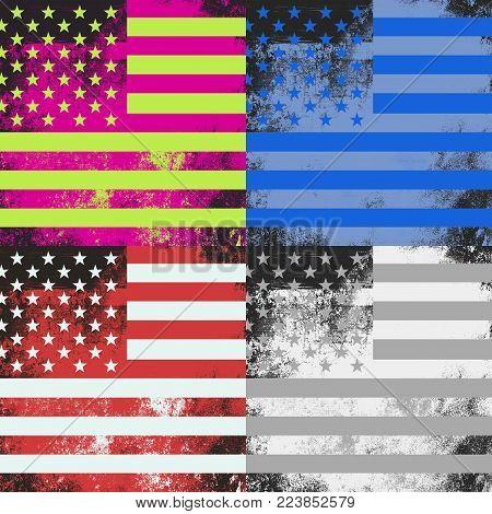 A grunge American flag pop art design.