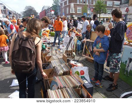 Thomsonlaan, The Hague, the Netherlands -27 April 2014: Kingsday at a street flea market