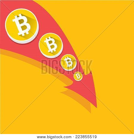 vector bitcoin market crash graph on orange background. Bitcoin hype concept vector illustration with blank space for text. depreciation of bitcoin. Bitcoins Price Drops