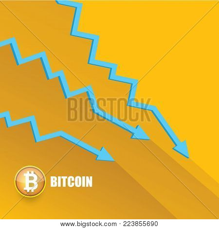 vector bitcoin market crash graph on orange background. Bitcoin hype concept vector illusrtation with blank space fo text. depreciation of bitcoin. Bitcoins Price Drops