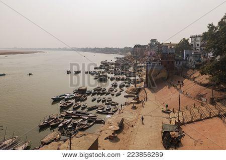 The Ganges River bank at Varanasi, India