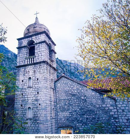 stone church tower and steeple in Kotor Montenegro