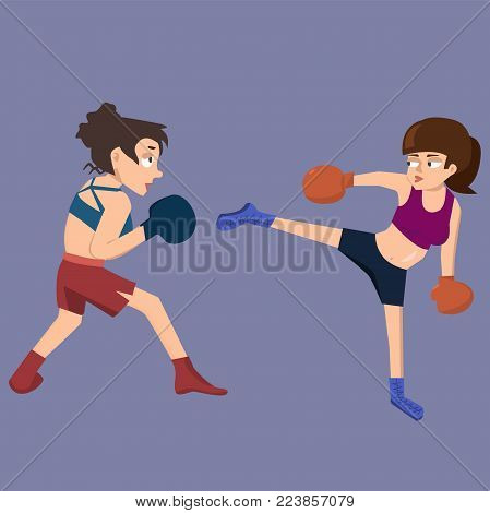 female kickboxing sparring  - funny vector cartoon illustration in flat style