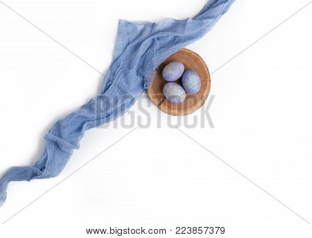 Blue Speckled Easter Eggs Isolated On White.