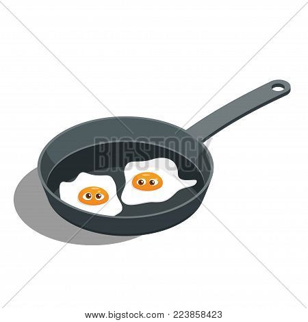 Cartoon vector Fried Egg with a Face in a frying pan. Egg white and yolk with cute eyes. Vector Illustration of an Isometric view on a blue Background. scrambled eggs with eyes expressing wonder an