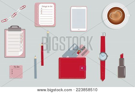 Stationary. A planner. To do lists. A cup of coffee. Pencils. A wallet. Wrist watch. Credit cards. Mobile phone. Clips. A lipstick. Vector illustration.