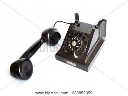 Bangkok, Thailand - January 18, 2018: Vintage rotary dial telephone L.M Ericsson model DBK 1101-3 isolated on white background