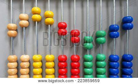 Colorful Wooden Abacus Beads in Sine Wave Pattern