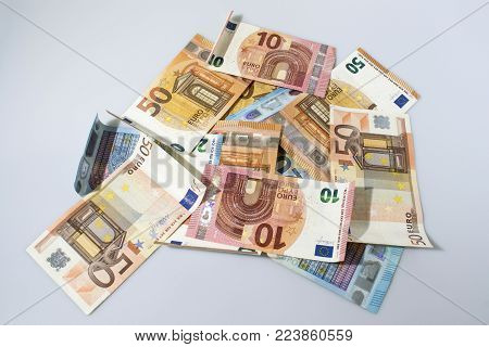 50 euro money composition background in a White background