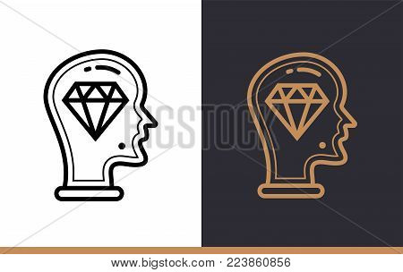 Outline brilliant idea icon for startup business. Line icons suitable for info graphics, print media and interfaces
