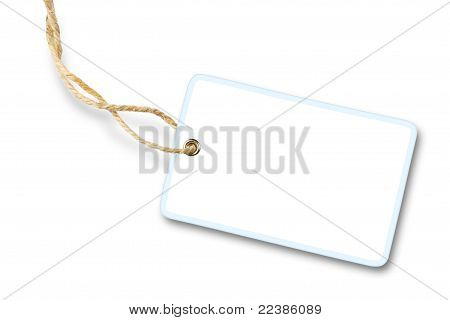 Blank white gift label with cotton string isolated on white background with shadow poster
