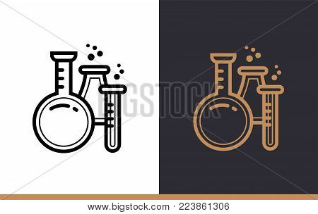 Outline CHEMISTRY icon for education. Line icons suitable for info graphics, print media and interfaces