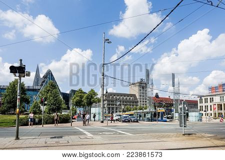 LEIPZIG, GERMANY - July 21, 2017: Street view of downtown in Leipzig, Germany