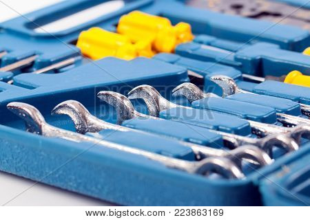 a set of metalwork tools in a plastic case
